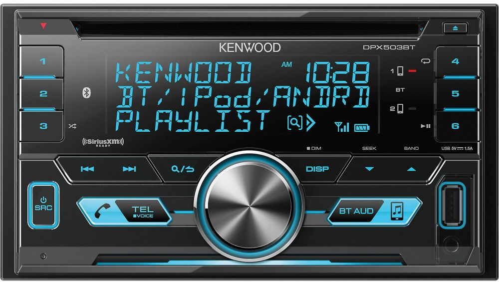 Kenwood DPX503BT Double DIN Bluetooth CD AM/FM USB Car Audio Receiver
