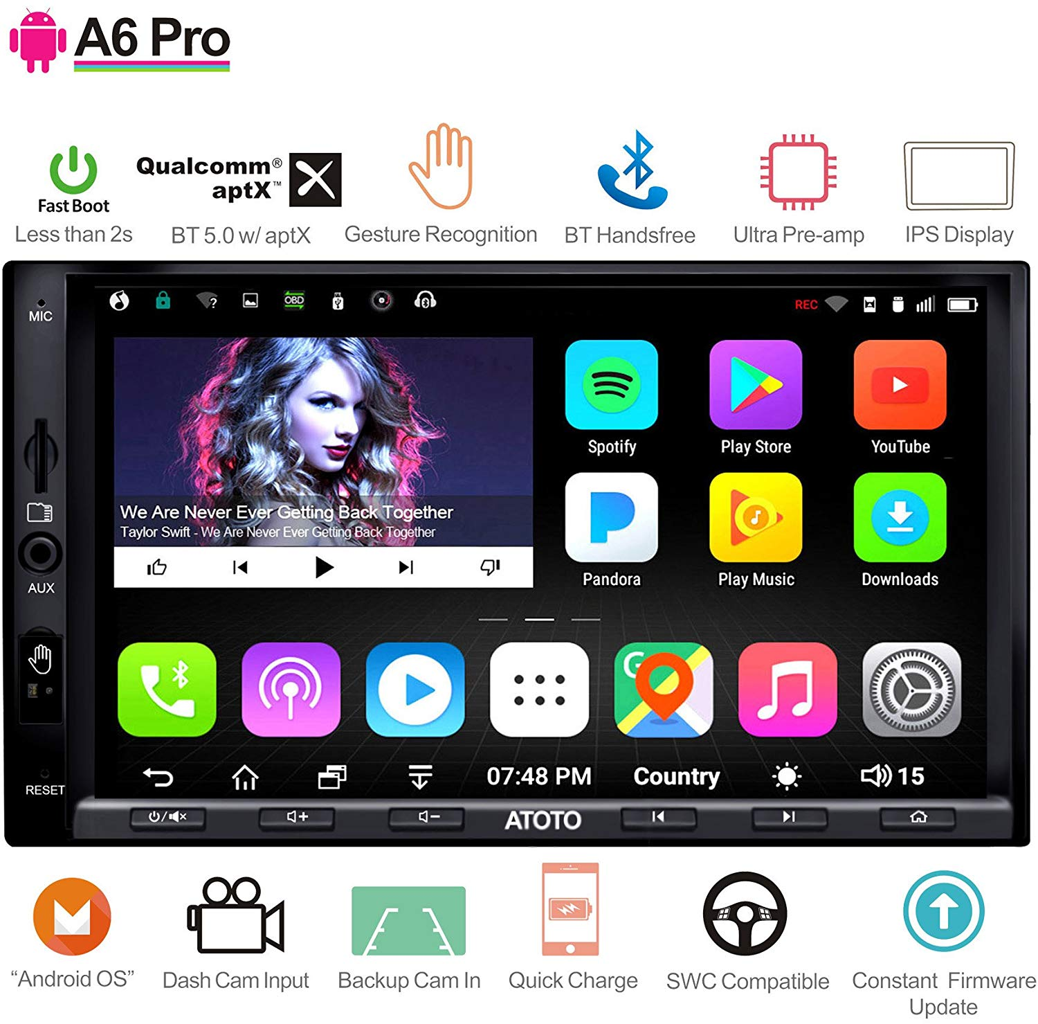 ATOTO A6 Android Car Navigation Stereo with Double Bluetooth & Phone Fast Charge - PRO A6Y2721PRB-G 2GB / 32GB 2DIN In dash Entertainment Multimedia Radio,WiFi,Gesture Operation, support 256G SD best double din head unit